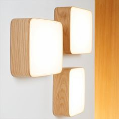 Cube wall lamp for indirect lighting in the hallway. Discover the wooden lamp by designer Mikko Kärkkäinen now in our shop. Wooden Lamp, Wooden Walls, Light Wall Art, Wall Lights, Wall Lamps, Deco Led, Lampe Applique, Deco Luminaire, Lamp Light