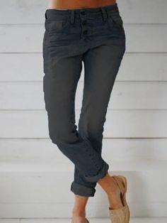 Women long pants button plain blue jeans - Cicicloth Denim Jeans, Blue Jeans, Jeans Pants, Leggings, Fashion Packaging, One Piece Swimwear, Long Pants, Latest Fashion Trends, Black Pants