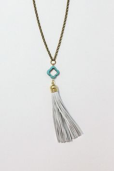My favorite White Leather Tassel Necklace  - made custom on Etsy by BohemianWhimSea $34