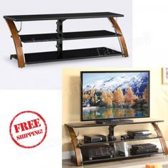 TV-Console-70-Brown-Wood-3-Shelf-Tabletop-Storage-Stand-Room-Rack-Televisor
