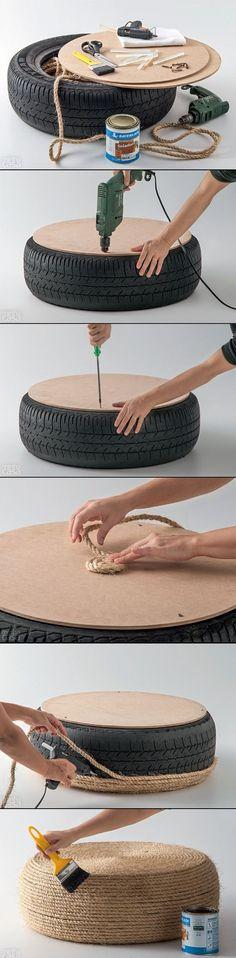Un pneu, de la corde -> Un coussin