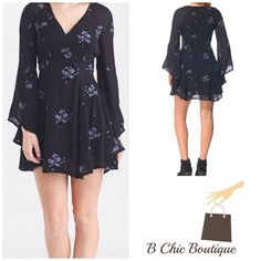"Free People Jasmine Dress Flirty, fun, and carefree, this romantic bell sleeve mini dress from Free People lends a flowy silhouette, V-neckline, and embroidered floral details that will make you feel beautiful inside and out.  Long bell sleeves V-neckline Floral embroidery detail Interior layer Shell: 100% rayon, Lining: 65% rayon / 35% cotton. Bust 39"" / waist 31 / hips 41""/ natural waist drop 33.25"" Free People Dresses"