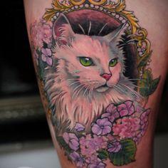 cat barock frame tattoo