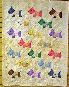Cute Christmas Scottie Dog Quilt - Bitsy Button & Friends pattern ... : scottie quilt pattern - Adamdwight.com