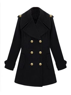 Cool Turn-down Collar Double-breasted Slim Woolen Coat