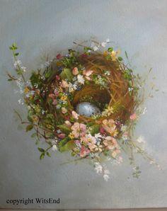 Wildflower Nest painting original bird nest wildlife by 4WitsEnd
