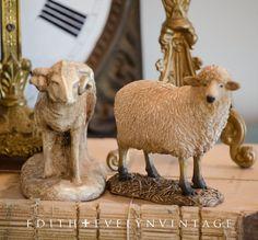 Vintage Pr Sheep Figures Statues Lamb Ram by edithandevelyn