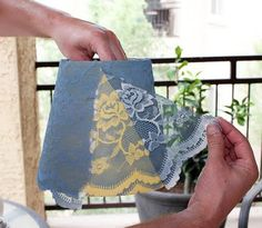 stayathomeartist.com: guest tutorial: spray painted lace lamp shade Gunna do this to my treasure chest! But white and yellow.