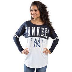 New York Yankees 5th & Ocean by New Era Women's Long Sleeve Baby Jersey Spirit T-Shirt - Navy