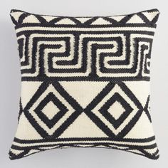 Black and Ivory Geometric Key Indoor Outdoor Throw Pillow - v1
