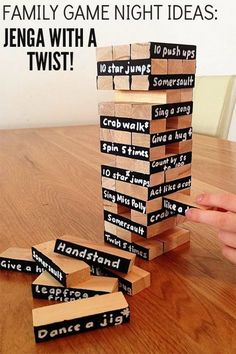 Game Night Ideas: Jenga with a Twist! Family Game Night Ideas: Transform your Jenga game with a fun and very active twist!Family Game Night Ideas: Transform your Jenga game with a fun and very active twist! Jenga Game, Jenga Drinking Game, Jenga Diy, Family Fun Night, Family Family, Night Couple, Family Home Evening, Bachelorette Party Games, Group Games