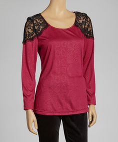 Take a look at this Gray & Fuchsia Lace Top by eci New York on #zulily today!