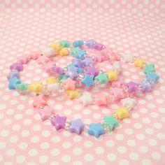 Kawaii Fairy Kei Lolita Star Stretch Bracelet Pastel Light Multicolor Iridescent Beads