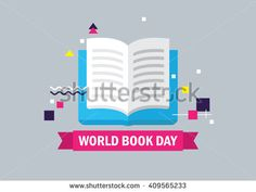 World book day vector illustration. EPS 10 - stock vector