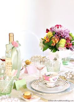 Modern-tea party for a bridesmaid luncheon or Mother's Day.
