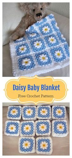 Crochet Square Pattern Daisy Granny Square Baby Blanket Free Crochet Pattern - The adorable Daisy Granny Square Baby Blanket Free Crochet Pattern is made up of cheerful, colorful little daisies. There are many options to personalize. Crochet Daisy, Baby Afghan Crochet, Crochet Blanket Patterns, Baby Patterns, Free Crochet, Knitting Patterns, Afghan Patterns, Crochet Blankets, Knitting Baby Blankets