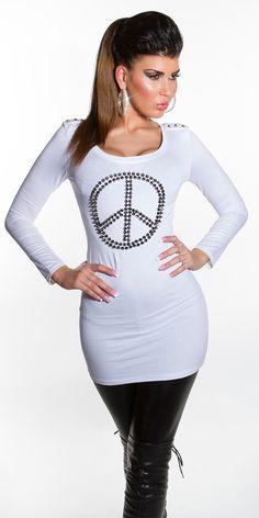 T-shirt garni de clous couleur: Blanc