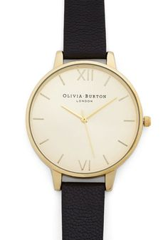 Undisputed Class Watch in Gold/Black - Grande by Olivia Burton - Black, Solid, Minimal, Best, Leather, Work, Gold, Gals, Travel