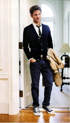 Simply elegant & Stylish combination of Cardigan with Denim & Sneakers