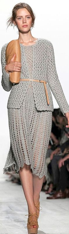 CROCHET FASHION TRENDS exclusive gray crochet two-piece suit (jacket & dress) - made to order