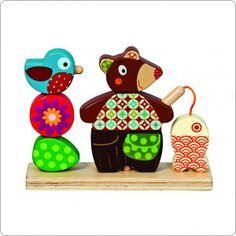 Coelho na Lua - Urso de encaixe em madeira