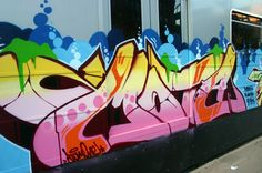 Grafitti on a train.