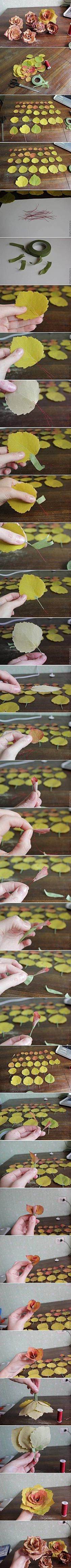 DIY Golden Autumn Rose DIY Golden Autumn Rose -- its too late now to collect fall flowers, but this is such a good idea in general! Diy Home Crafts, Cute Crafts, Diy Craft Projects, Creative Crafts, Fall Crafts, Fake Flowers, Diy Flowers, Fabric Flowers, Leaf Flowers