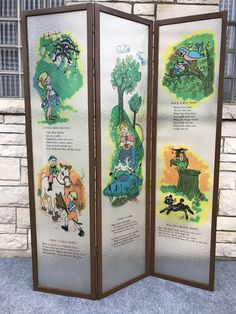 "Mid Century Modern Nursery Rhyme Lucite Panel Room Divider Screen - 71"" x 53"" $124.99 #RoomDivider"