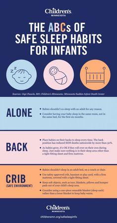 The ABCs of safe sleep habits for infants health activities health care health ideas health tips healthy meals Baby Sleep Routine, Baby Sleep Schedule, Toddler Sleep, Kids Sleep, Toddler Girls, Baby Infographic, Pregnant Sleep, Das Abc, Baby Life Hacks