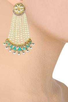 Auraa Trends presents Gold finish kundan stone green enamel passa earrings available only at Pernia's Pop Up Shop. Pakistani Jewelry, Indian Jewelry, Bridal Jewelry, Gold Jewelry, Peacock Jewelry, Cartier Jewelry, Diamond Jewellery, Rose Gold Earrings, Wedding Earrings