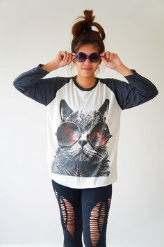 S M L  GALAXY CAT Glasses TShirts Cat TShirts by cottonclick, $18.00