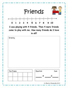 Addition Word Problems - Several packets to choose from - Solve with number line, drawing, ten frame, and equation - Great for morning work, homework, or a minilesson - $
