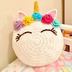 "You can easily make this adorable 16"" Unicorn Pillow for your little one or anyone who believes in magic and dreaming big!"