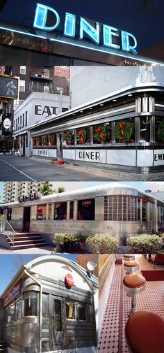 Empire Diner (New York), 11th Str. Diner (Miami), and Sunny Day Diner (Lincoln, NH)