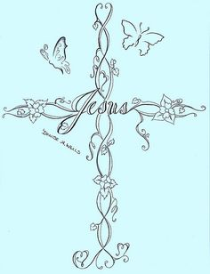 Cross Tattoo Design by Denise A. Wells. I don't like tattoos, but this would make for an awesome wall decal!