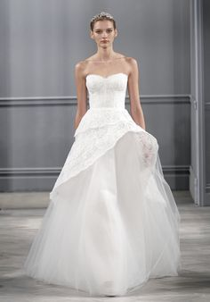 Azure from Monique Lhuillier // Silk, white chantilly lace strapless gown with asymmetric horsehair peplum and full tulle skirt //