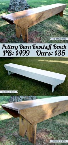Wood Projects DIY Pottery Barn-Inspired Bench - need just 3 boards to build this! So easy! - Build a DIY Pottery Barn-inspired bench with three boards! Diy Wood Projects, Furniture Projects, Wood Crafts, Diy Crafts, Decor Crafts, Diy Outdoor Furniture, Diy Furniture, Outdoor Decor, Furniture Stores