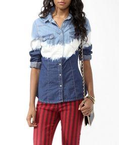 Dip-Dyed Denim Shirt | FOREVER21 - 2025101486