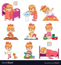 Little girl brushes teeth, exercises in morning, eats porridge, washes dishes, plays with toys and d Daily Routine Activities, Kids Routine Chart, Preschool Activities, Daily Routine Kids, Kinder Routine-chart, Washing Dishes, Books To Read, Little Girls, Kindergarten