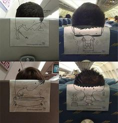 the moment when the head in front of you lines up with the headrest