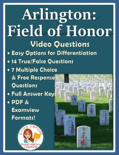 Examine Arlington National Cemetery in detail with these Arlington Field of Honor worksheets! PDF for easy printing plus Examview files for electronic testing options! 21 objective questions -- fast grading for your, accountability for students. Designed for differentiation into easy and harder levels! Perfect for Memorial Day video activities! #veteransday #thewall #videoworksheets #vietnammemorial #memorialday #vietnamwar #veterans #war #militaryhistory #arlington #arlingtonfieldofhonor