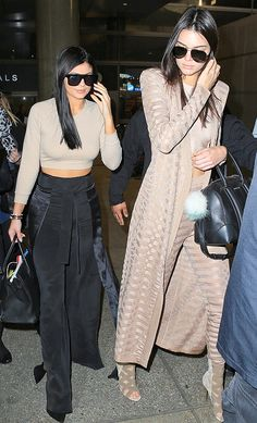 Kendall and Kylie Jenner airport style