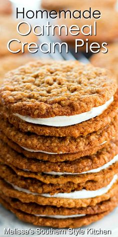 Make these better-than-store bought Homemade Oatmeal Cream Pies for dessert #oatmealcreampies #oatmeal #pierecipes #creampies #desserts #dessertfoodrecipes #southernfood #southernrecipes #holidaybaking #holidayrecipes #christmascookies