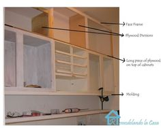 the Cabinets up to the ceiling Tutorial - Extending cabinets to reach the ceiling. (I plan to do this in my kitchen)Tutorial - Extending cabinets to reach the ceiling. (I plan to do this in my kitchen) Kitchen Cabinets To Ceiling, Above Cabinets, Built In Cabinets, Diy Cabinets, Short Kitchen Cabinets, Kitchen Soffit, Top Of Cabinets, Kitchen Redo, Home Decor Kitchen