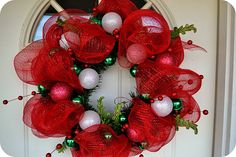 More Deco Mesh Wreaths-- this one gives an old wreath new life!