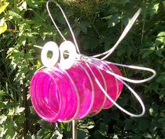 Pink Pint Sized Mason Jar Bug on a Stick Garden Decor