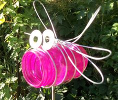 Pink Pint Sized Mason Jar Bug on a Stick Garden Decor