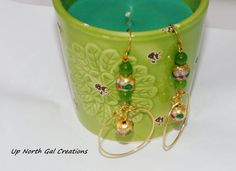 FREE SHIPPING to USA, Cloisonne Earrings,Green Jade, Handmade Gold Color Wire Hoops,Dangle Earrings.Green Jewelry,Made in Michigan  These