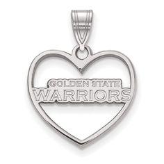 Sterling Silver NBA LogoArt Golden State Warriors Heart Pendant