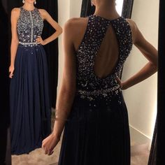 Long Navy Blue Chiffon A-line Beaded Sequins Party Cocktail Dress Prom Dress Formal Gowns Evening Dresses Long Sequins Homecoming Dresses For Women Navy Prom Dresses, Open Back Prom Dresses, Best Prom Dresses, Evening Dresses, Party Dresses, Prom Gowns, Dress Long, Long Dresses, Chiffon Dresses